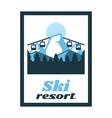 logo ski resort label stamp winter landscape vector image