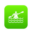 male athlete in a canoe icon digital green vector image