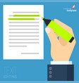 man hands filling form vector image