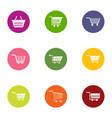 market cart icons set flat style vector image