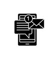 mobile chat bot black icon sign on vector image vector image