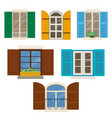 open windows with shutters vector image vector image