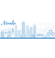 Outline Manila Skyline with Blue Buildings vector image