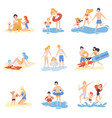 parents and their children playing and having fun vector image vector image