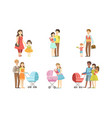 parents daily routine activities set mothers vector image vector image