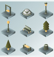 park color gradient isometric icons vector image vector image
