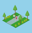people running in park 3d vector image