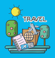 plane tickets passport tourist vacation travel vector image vector image