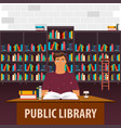 public library bookcase books and knowledge vector image