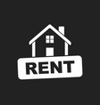 rent sign with house home for rental in flat style vector image vector image