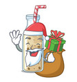 santa with gift sweet banana smoothie isolated on vector image vector image