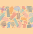 seamless background with bottles of cosmetic vector image vector image
