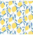 seamless pattern with lemon fruits hand drawn vector image vector image