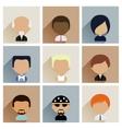 set men faces icons in flat design vector image