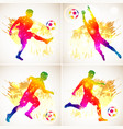 set silhouette soccer players vector image