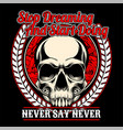 skull stop dreaming and start doing hand vector image