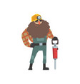 smiling bearded miner with jackhammer vector image vector image