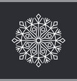 snowflake crystal on black vector image vector image