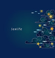 starfish on night sky and school fish vector image