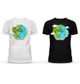 T-shirt with of hands holding earth vector image vector image