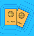 two passports sign sand vector image