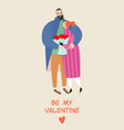 valentines day card with a happy embracing couple vector image vector image