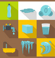 water natural form icon set flat style vector image vector image