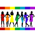 Women silhouettes with rainbow color dresses vector image vector image