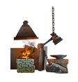 Workplace of blacksmith on white background vector image vector image