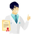 young asian doctor holding a certificate vector image vector image