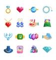 Precious Jewels Icons Flat vector image