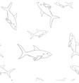 sharks outline sketch seamless pattern vector image