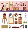 art studio interior design concept vector image