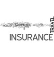 backpacker travel insurance text word cloud vector image vector image