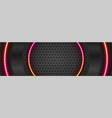 black glossy and neon circles on dark perforated vector image vector image