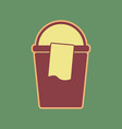 bucket and a rag sign cordovan icon and vector image vector image