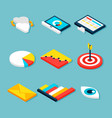 business analytics isometric objects vector image vector image
