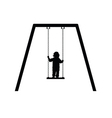 child on swing in black vector image vector image