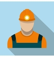 Coal miner flat icon vector image vector image