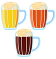 colorful cartoon different beer type mug vector image
