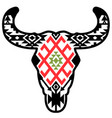 cow skull with vintage traditional aztec ornament vector image vector image