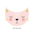 cute cartoon cat in scandinavian style vector image