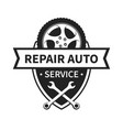 emblem for repair car and tire service vector image vector image
