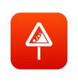 falling rocks warning traffic sign icon digital vector image vector image