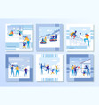 family winter vacation and outdoor fun set vector image vector image