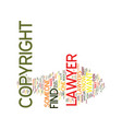 Find a copyright lawyer text background word vector image