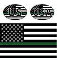 flags us police with green line vector image