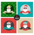 four xmas cards with hipster santa vector image vector image