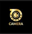 gold camera technology logo vector image