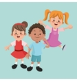 Group of happy boys and girls cartoon kids vector image vector image